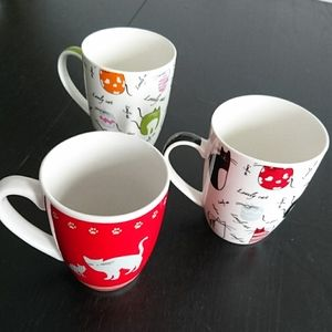 Vintage cat mugs (3) from France
